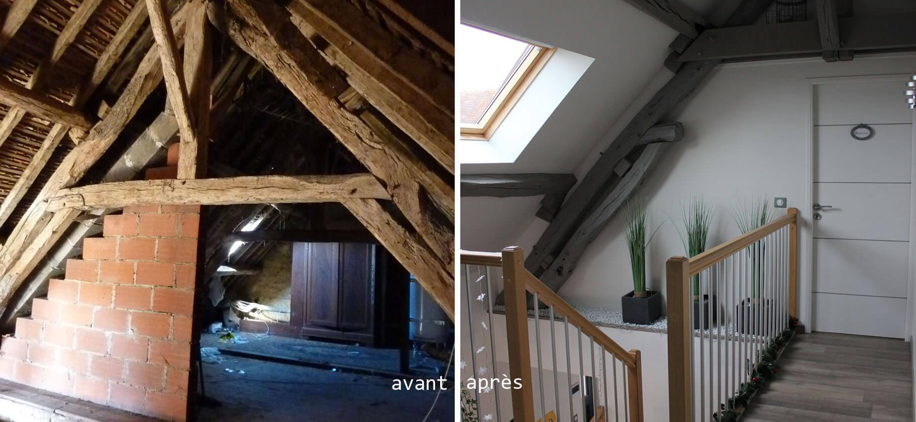 Stéphen Mure Architecte - Maison Manue & Jérôme - Etage avant & après