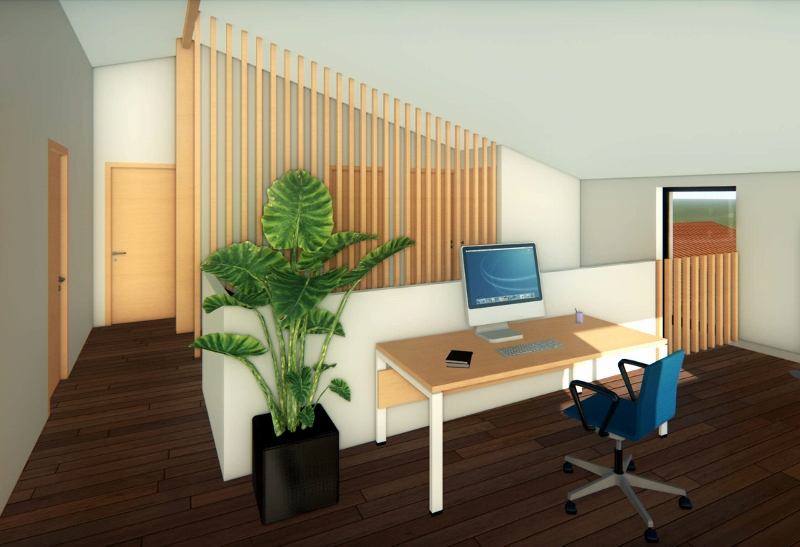 Stéphen Mure Architecte - Saint-Etienne - Maison individuelle - Anne-Lise & Cédric - Bureau mezzanine