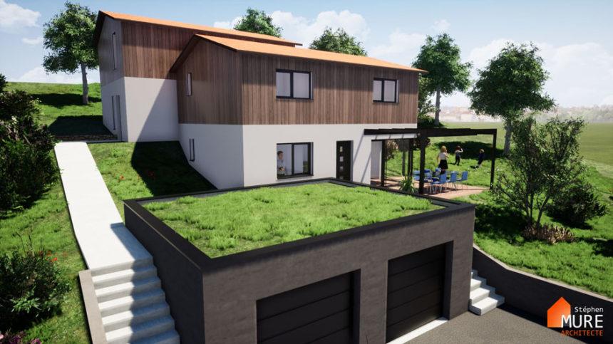 Maisons jumelées Planfoy - Stéphen Mure Architecte - Habitat et Maison passive (4) - Accès Maison 2