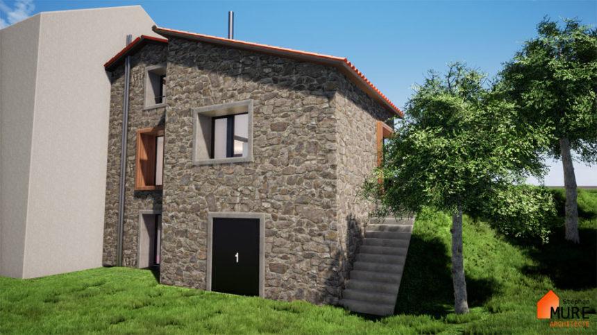Réhabilitation Maison pierres - Saint-Chamond - Stéphen Mure Architecte - Maison passive (3) Façade arrière