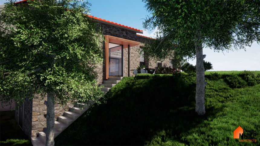 Réhabilitation Maison pierres - Saint-Chamond - Stéphen Mure Architecte - Maison passive (4) Terrasse extérieure