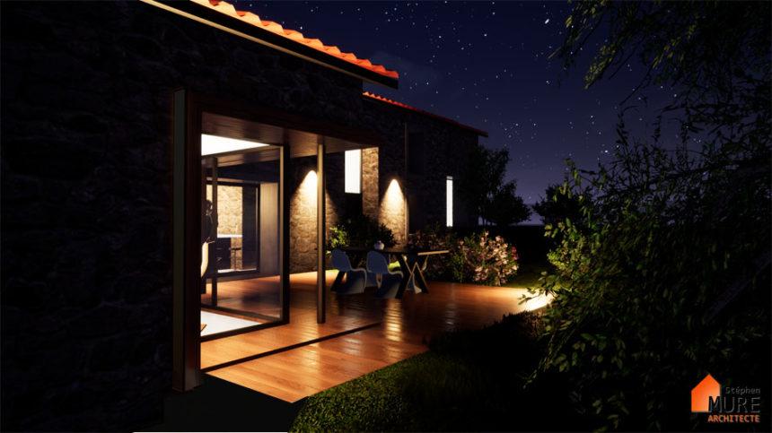 Réhabilitation Maison pierres - Saint-Chamond - Stéphen Mure Architecte - Maison passive (5) Terrasse vue de nuit