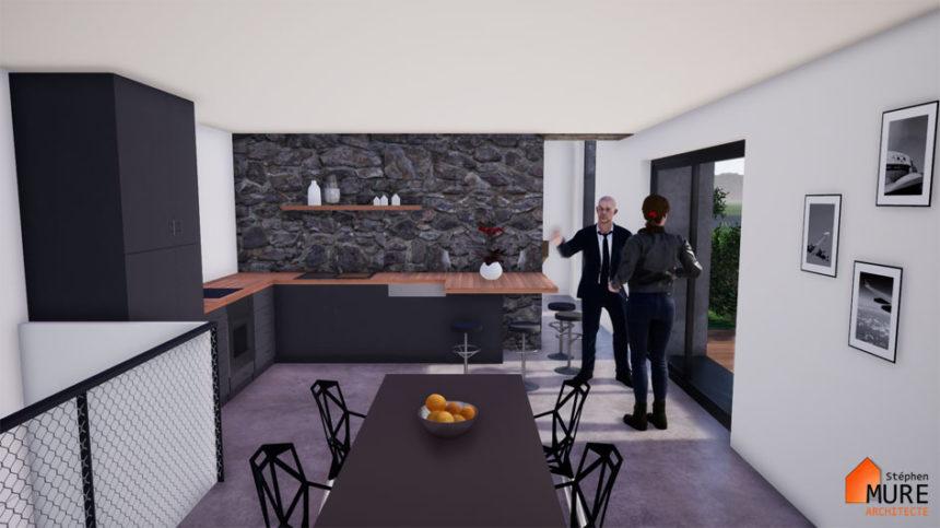 Réhabilitation Maison pierres - Saint-Chamond - Stéphen Mure Architecte - Maison passive (8) Séjour cuisine