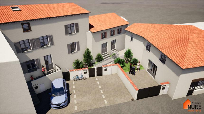 Réhabilitation de 4 logements en centre bourg - Champdieu - Stéphen Mure Architecte - Maison passive (1) Vue aérienne