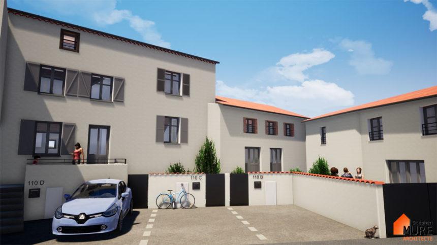 Réhabilitation de 4 logements en centre bourg - Champdieu - Stéphen Mure Architecte - Maison passive (3) Projet