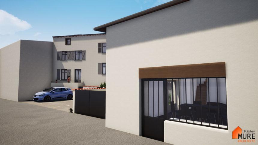 Réhabilitation de 4 logements en centre bourg - Champdieu - Stéphen Mure Architecte - Maison passive (4) Verrière sur rue