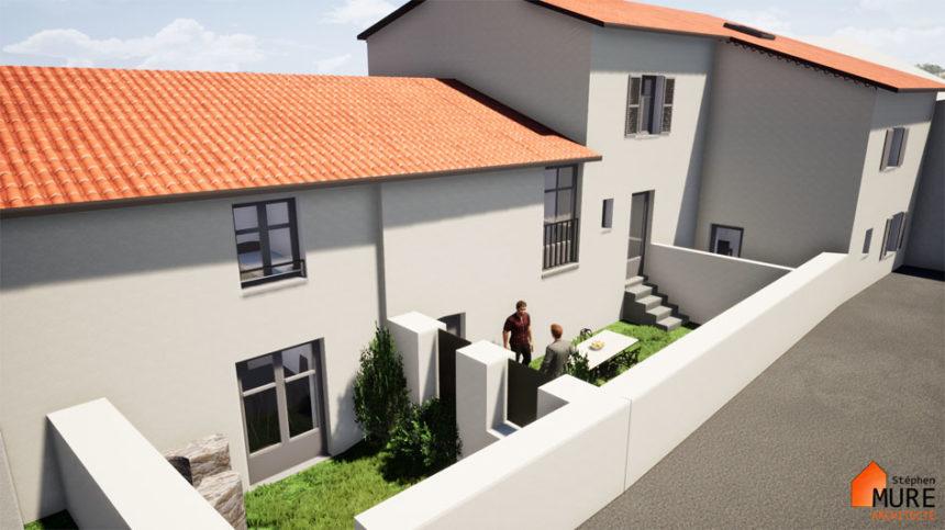 Réhabilitation de 4 logements en centre bourg - Champdieu - Stéphen Mure Architecte - Maison passive (5) Jardins arrières