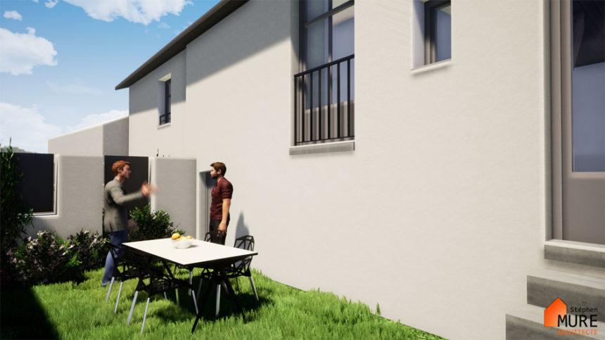 Réhabilitation de 4 logements en centre bourg - Champdieu - Stéphen Mure Architecte - Maison passive (6) Jardin privatif