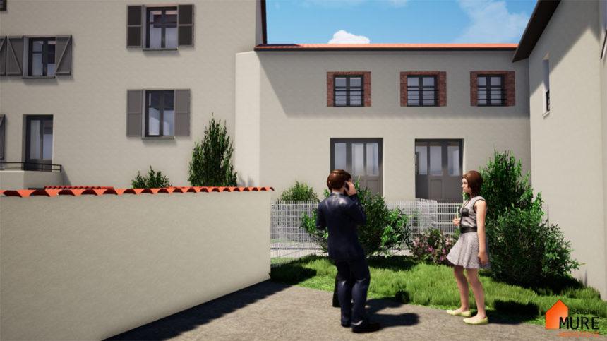 Réhabilitation de 4 logements en centre bourg - Champdieu - Stéphen Mure Architecte - Maison passive (7) Cour et jardin