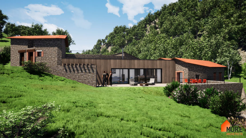 Rénovation et extension d'un ancien moulin - Montbrison -Stéphen Mure Architecte - Maison passive (3) Extension ossature bois et toiture terrasse végétalisée