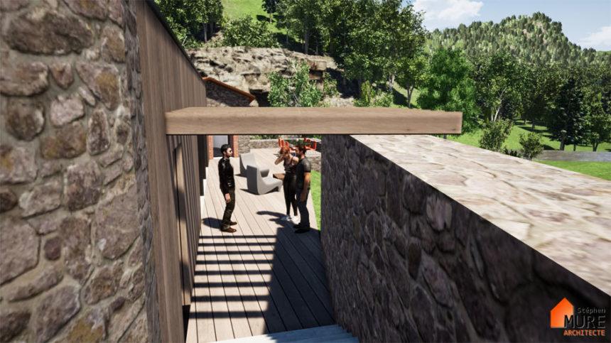 Rénovation et extension d'un ancien moulin - Montbrison -Stéphen Mure Architecte - Maison passive (4) Escalier accès