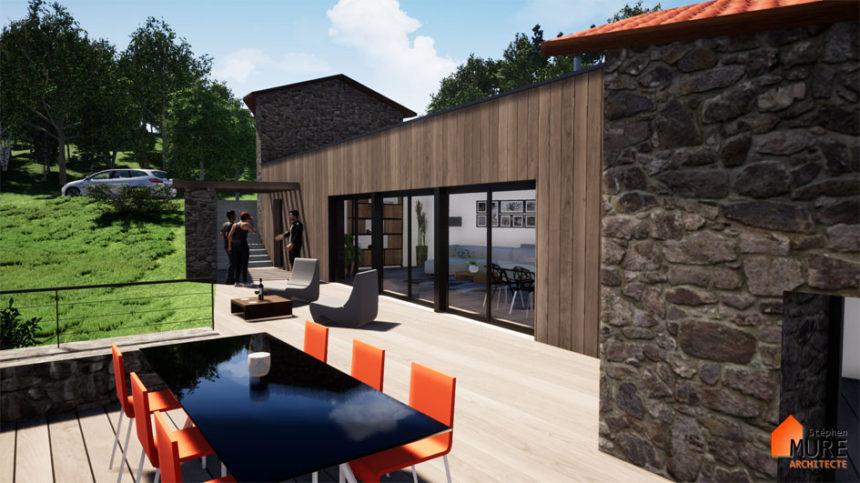 Rénovation et extension d'un ancien moulin - Montbrison -Stéphen Mure Architecte - Maison passive (5) Terrasse bois