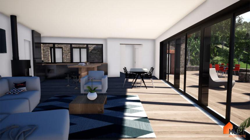 Rénovation et extension d'un ancien moulin - Montbrison -Stéphen Mure Architecte - Maison passive (6) Séjour